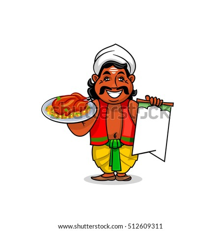 Indian cuisine icon. Indian chef cook in national clothing holding menu card template and grilled chicken with curry rice and vegetables on dish. Vector for restaurant signboard, menu
