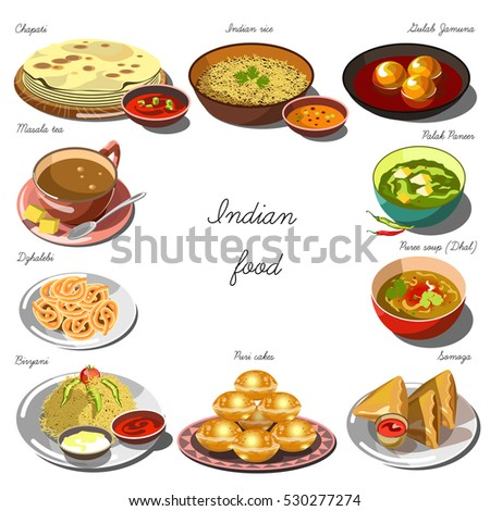 Indian cuisine set collection food dishes stock vector for Art of indian cuisine