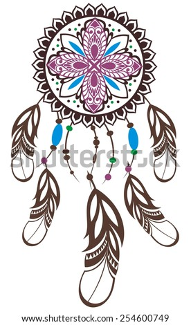 Indian Dream catcher in a sketch style - stock vector