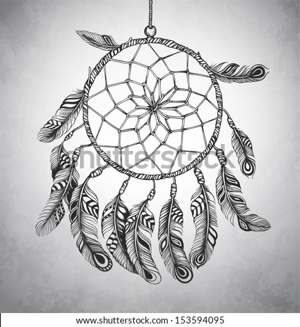 Indian Dream catcher in a sketch style. Vector illustration. - stock vector