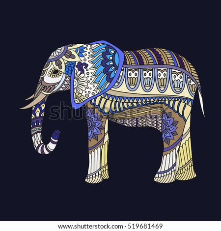 indian elephant in traditional asian style ornate elephant on lace background for coloring page design