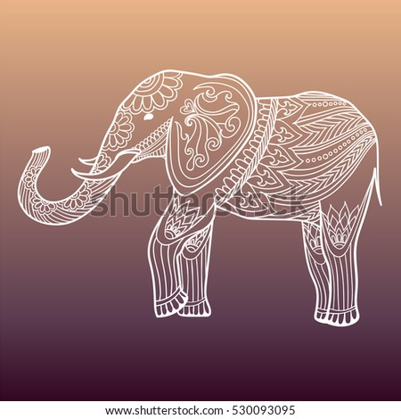 indian elephant in traditional asian style ornate linear elephant on background for coloring page design