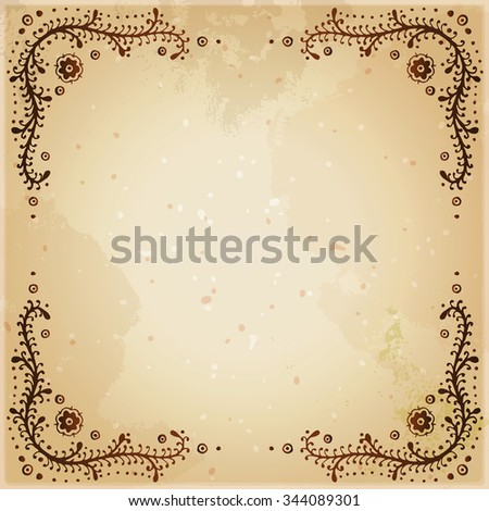 Indian ethnic henna tattoo framed background. Orient traditional background design, real henna effect. Template for mehndi ornament. Hand drawn doodle, vector illustration. - stock vector