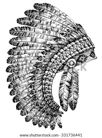 Indian feathers headdress - stock vector