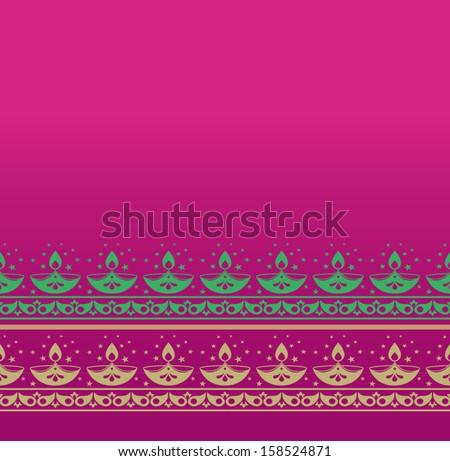 "Indian festival ""Diwali' motif border - stock vector"