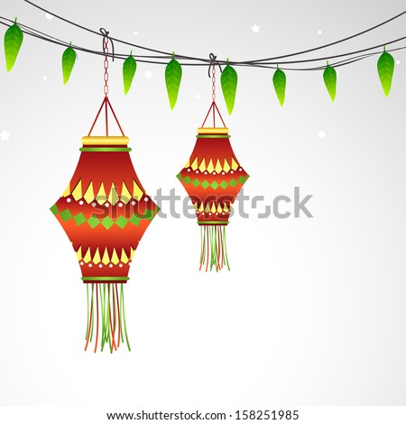 Indian Festival Happy Diwali Concept With Decorative Hanging Lights Green Leaves On Grey Background