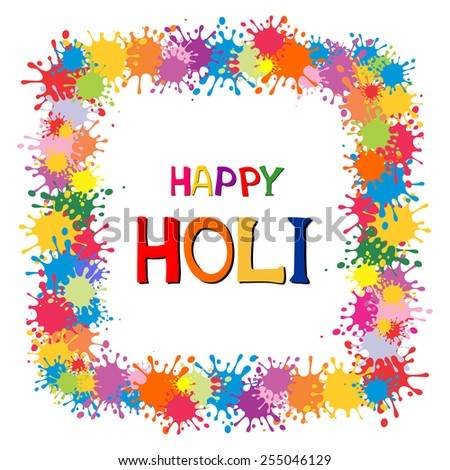 Indian festival Happy Holi celebrations with colors splash. Vector background  - stock vector