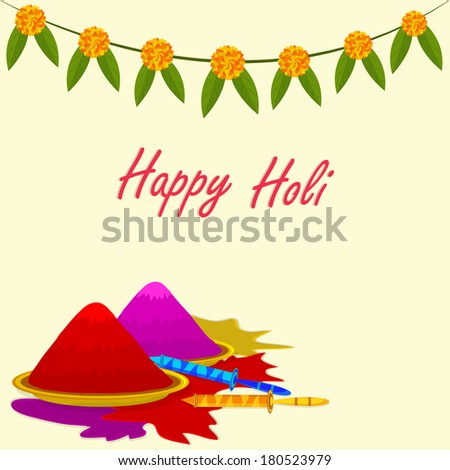 Indian festival holi background with color n flower bandanwar and pichkari.