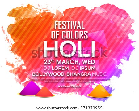 Indian Festival of Colours, Happy Holi celebration Invitation Card design with splash. - stock vector