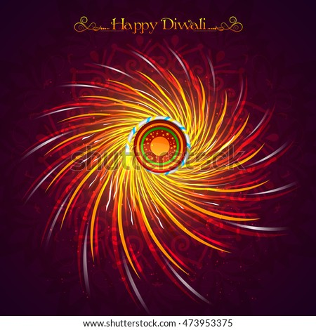 Indian Festival of Lights, Happy Diwali Celebration with illustration of exploding Firecracker on floral rangoli.