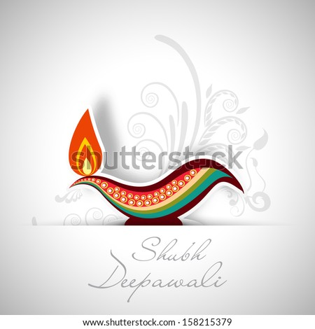 Indian festival of lights, Shubh Deepawali (Happy Deepawali) concept with illuminated colorful oil lit lamp on floral decorated grey background.  - stock vector