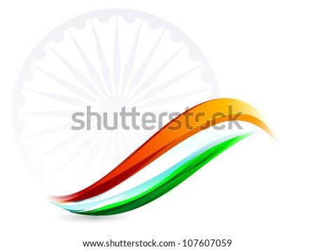 Indian Flag background with Asoka wheel on white background. EPS 10. - stock vector