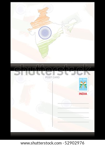indian flag background with map, vector postcard - stock vector