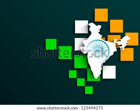 Indian flag color creative background with India Map. EPS 10. - stock vector