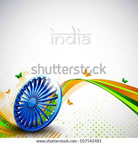 Indian flag color creative wave background with 3D Asoka wheel and butterflies. EPS 10. - stock vector
