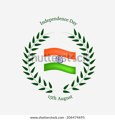 Indian Flag covered with floral leaves for Independence Day - stock vector