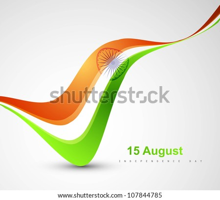 Indian flag stylish tricolor wave vector - stock vector