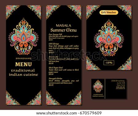 Vector Illustration Menu Card Template Design Stock Vector ...