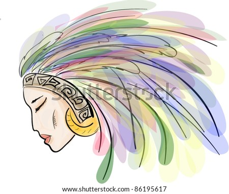 Indian girl with feathers - stock vector