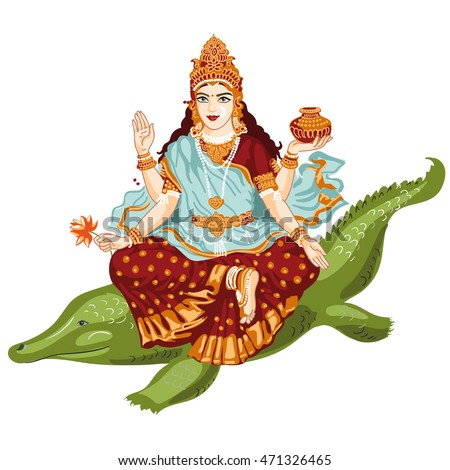Indian Goddess Ganga Maiya in a beautiful sari with golden accessories with four hands sitting on a crocodile