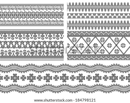 Indian Henna Border decoration elements patterns in black and white colors. Popular ethnic border in one mega pack set collections. Vector illustrations.Could be used as divider, frame, etc - stock vector