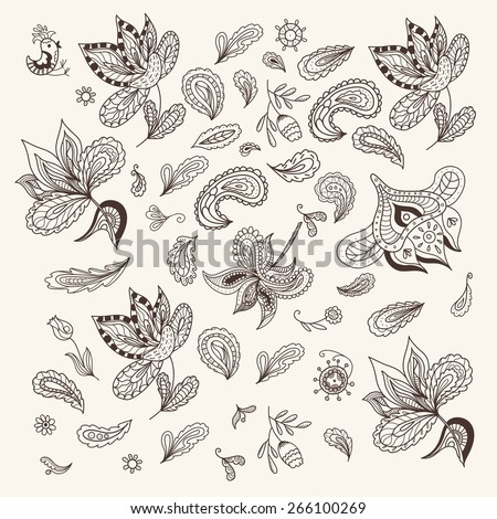 Indian Henna Design Elements | Ethnic outline doodle sketch ornaments set, vintage style, for cards, invitations, identity - stock vector