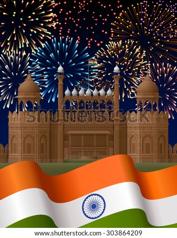 Indian Independence Day background with Red Fort and fireworks, EPS 10 contains transparency - stock vector