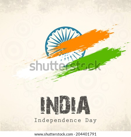 Indian Independence Day celebration with national flag colors and ashoka wheel on abstract grey background for 15th of August, Independence Day celebrations.     - stock vector