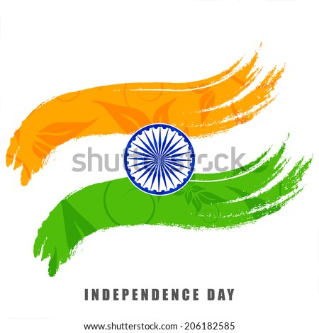Indian Independence Day celebrations concept with national flag colors with ashoka wheel on white background. - stock vector
