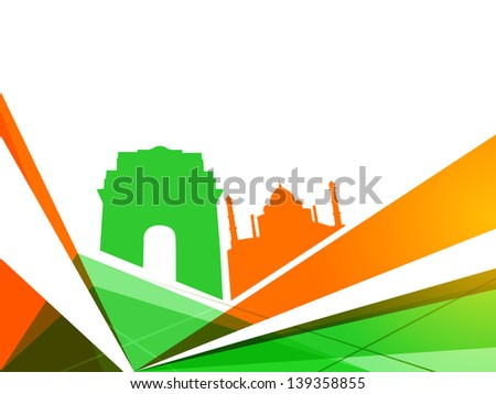 Indian Independence Day colorful background with view of famous monuments India Gate and Taj Mahal. - stock vector