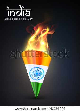 Indian Independence Day concept torch in national flag colors with flames and text India. - stock vector