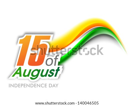 Indian Independence Day wave background with text 15 of August. - stock vector