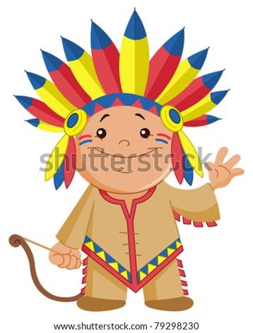 Indian kid waving hello - stock vector