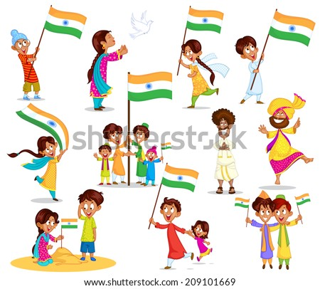 Indian kid with flag of India in vector - stock vector