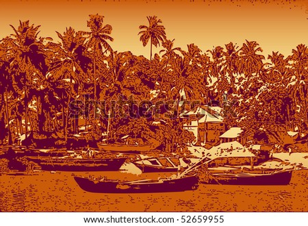 Indian landscape with fishing boats. vector illustration