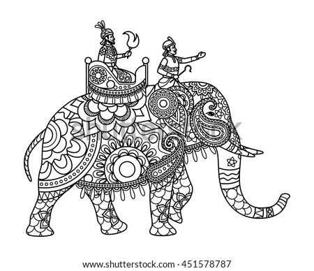Indian Maharajah On Elephant Coloring Pages Stock-vektorgrafik ...
