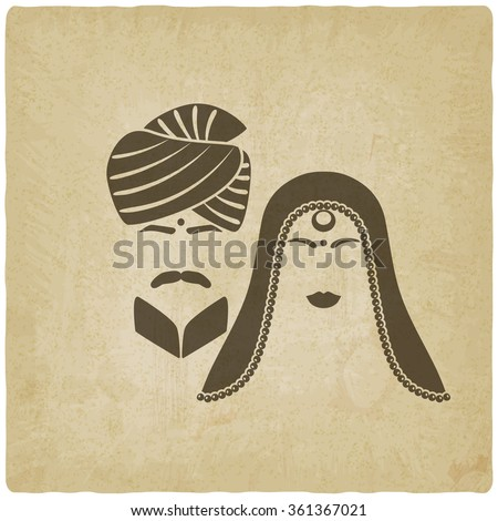Indian man and woman in traditional clothes. old background. vector illustration - eps 10 - stock vector