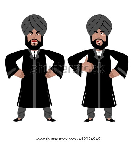 Indian man Angry, aggressive and good businessman in India. Hindu in turban and tie. Traditional costume. Sign all right. Thumbs up. Hand showing ok.  Maharajah set - stock vector