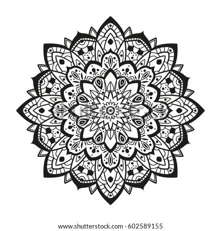 Mandala Ethnic Decorative Elements Hand Drawn Stock Vector