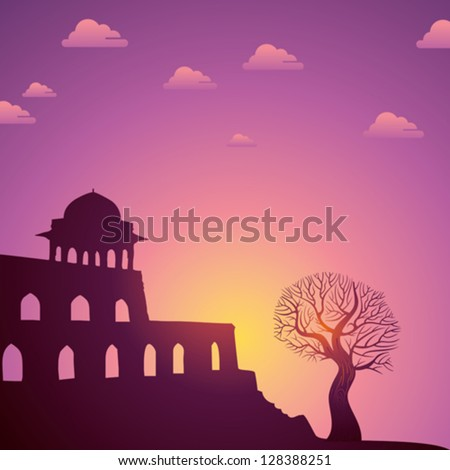 Indian monuments vector on sunset - stock vector