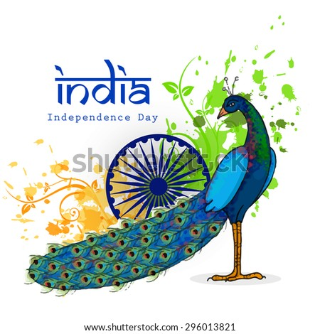 Indian National Bird Peacock With Ashoka Wheel On Saffron And Green Colors Floral Pattern Background For