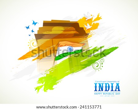 Indian National Flag with India Gate, flying pigeon and butterfly for Indian Republic Day celebration. - stock vector