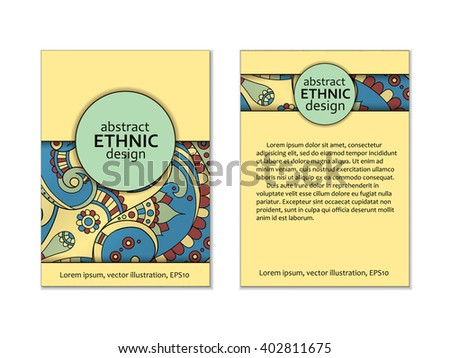 indian paisley card, back and front pages, with beautiful ethnic doodle motif