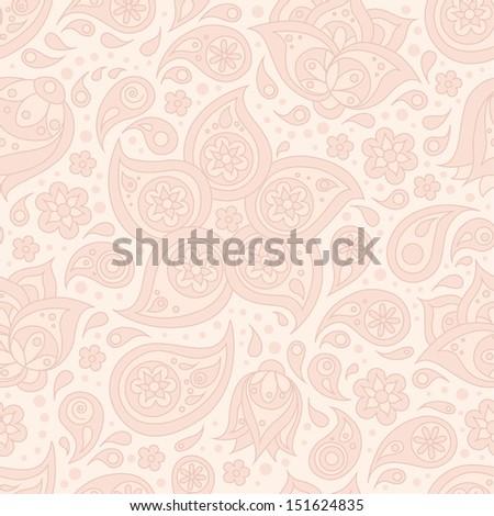 Indian paisley flowers seamless pattern. Vector illustration. - stock vector