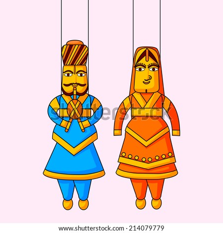 Indian puppet of king and queen in vector - stock vector