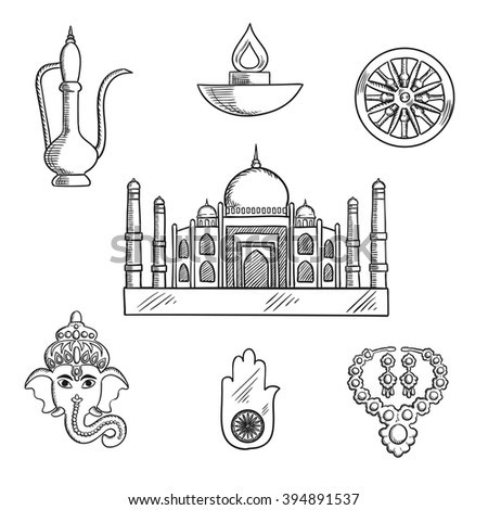 Indian Religion Culture Symbols Ganesha God Stock Vector 394891537