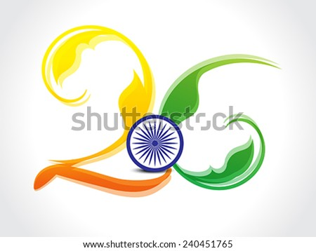 Indian Republic day text  Background with floral - stock vector