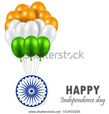 Indian Republic Day vector background with balloons national flag colors