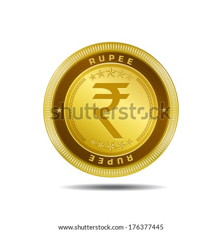 Indian Rupee Currency Sign Gold Coin Vector Icon  - stock vector