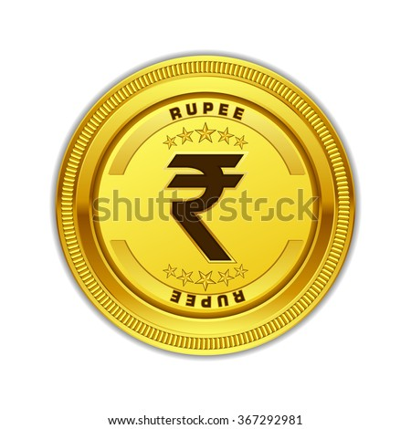 Indian Rupee Currency Sign Gold Coin Vector Icon Design - stock vector